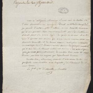 Lettre de recommandation en faveur de M. Drouet, ancien militaire