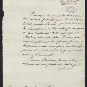 Remerciements d'une lettre annonçant la nomination du fils de Gillet comme sous-lieutenant et du mariage de sa fille
