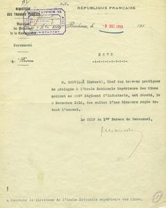 Note du bureau du personnel du ministère des Travaux publics annonçant la mort de Robert Douvillé, 9 décembre 1914