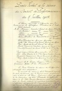 Procès-verbal de la séance du conseil de perfectionnement du 5 juillet 1913.