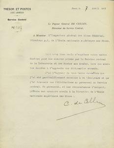 Lettre du trésorier général De Celles à Gabriel Chesneau