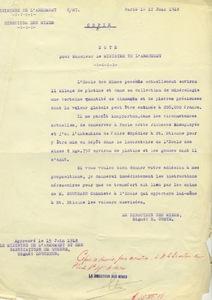 Note de Gabriel Chesneau pour le ministère de l'armement