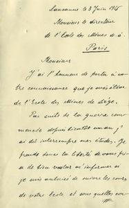 Lettre de Nicolas Gatai, élève de l'Univerité de Liège