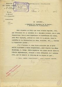 Lettre du ministre des Travaux publics adressée au ministère de la Guerre, 12 décembre 1914