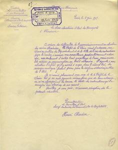 Lettre type émanant du sous-secrétaire des Transports, 8 juin 1917