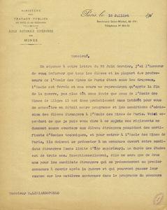 Lettre de Gabriel Chesneau à M. Likiardopoulo, 12 juillet 1915