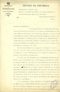 Lettre d'Antonio de Paiva-Morao à Gabriel Chesneau, 8 janvier 1919