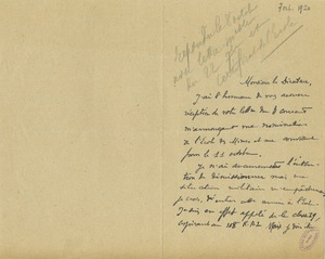 Lettre de Paul Courau à Gabriel Chesneau, 7 octobre 1920