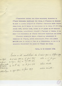 Brouillon de lettre sans en-tête de Gabriel Chesneau, 12 décembre 1918.