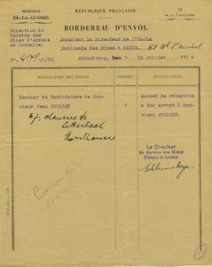 Lettre Conrad Schlumberger à Gabriel Chesneau, 12 juillet 1919