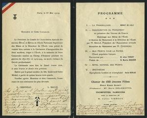 Programme de la cérémonie d'inauguration du monument aux morts à l'Ecole des mines de Paris, 26 mai 1919