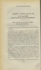 """""""L'Ecole a repris ses cours le 17 mars 1919 sous la présidence de M. Loucheur"""""""