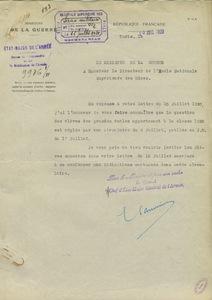 Lettre du de E. Lanvin, sous-chef d'Etat major général de l'armée à Gabriel Chesneau, 20 juillet 1920