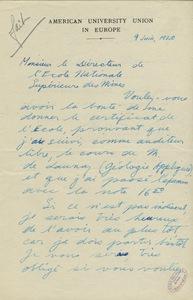 Lettre de Sherwin F. Kelly à Gabriel Chesneau, directeur de l'Ecole des mines de Paris, 9 juin 1920