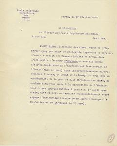 Note du directeur de l'Ecole des mines de Paris aux ingénieurs-élèves du Corps des mines, 1922