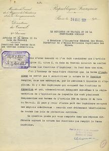 Lettre du Ministère du travail au directeur de l'Ecole, datée du 26 mars 1931.