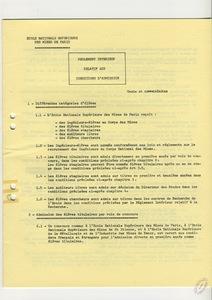 Règlement intérieur et conditions d'admission à l'Ecole des mines de Paris.